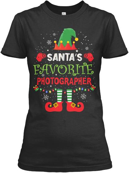 Santa's Favorite Photographer Black T-Shirt Front