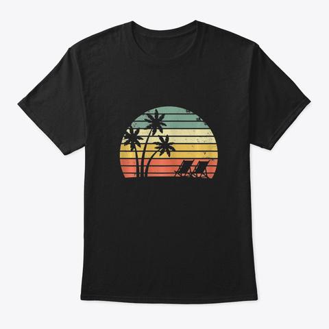 Vintage Beach Shirt Palm Trees Beach C  Black T-Shirt Front