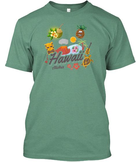 Hawaii Beach Family Holiday T Shirt Green T-Shirt Front