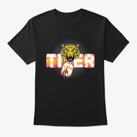 Angry Tiger Black T-Shirt Front