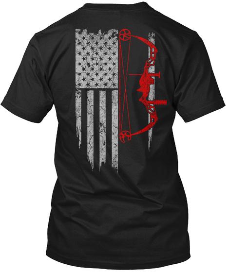 Hunting   Usa Flag Black T-Shirt Back