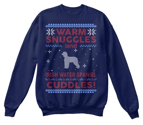 Irish Water Spaniel Ugly Christmas Sweat Navy  T-Shirt Front