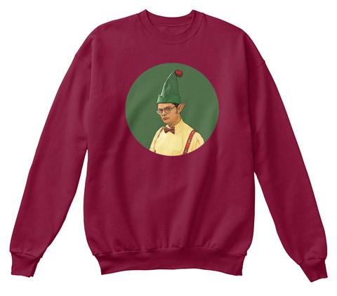 Dwight Schrute Elf Christmas Sweater! Cardinal  T-Shirt Front