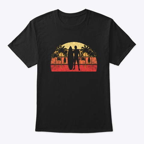 Vintage Sunset Surfing Surfers On Beach Black T-Shirt Front
