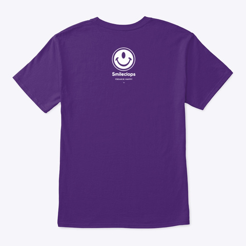 Smileclops™ Down With Frowns! Dark Merch Purple T-Shirt Back