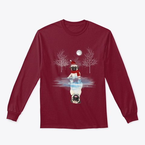 Cute Pug Dog Reflection Christmas Gift Cardinal Red T-Shirt Front