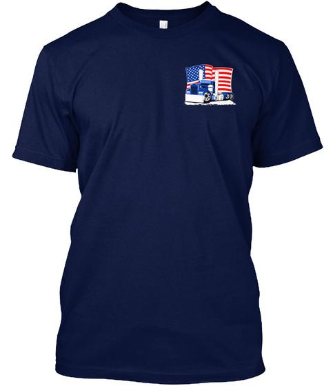 Trucker Pledge Left Chest/Back Print Navy T-Shirt Front