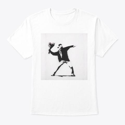 Banksy Flower Thrower  White T-Shirt Front