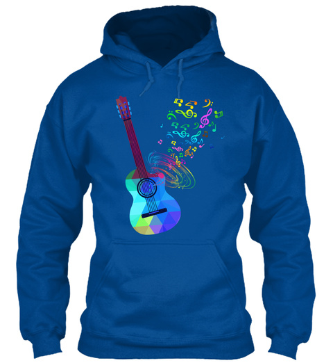 Hoodie Acoustic Guitar Music Notes Royal Sweatshirt Front