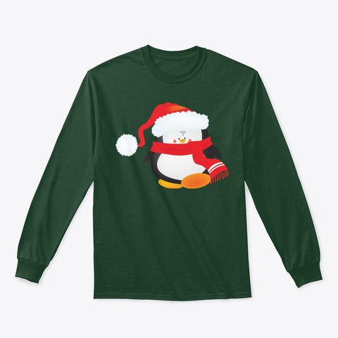 Christmas Penguin Forest Green T-Shirt Front