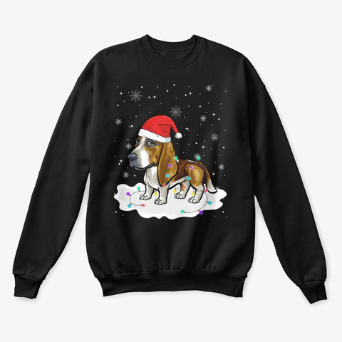 Basset Hound With Santa Christmas Black T-Shirt Front