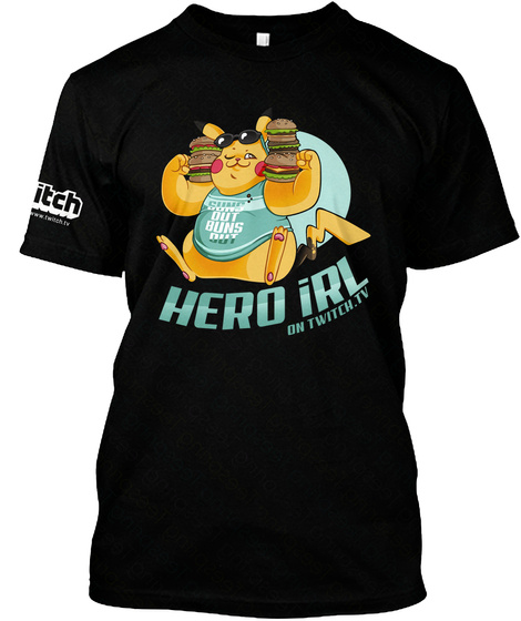 Hero Irl On Twitch.Tv Black T-Shirt Front