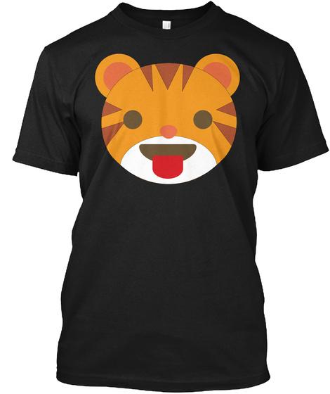 Tiger Emoji Tongue Out Black T-Shirt Front
