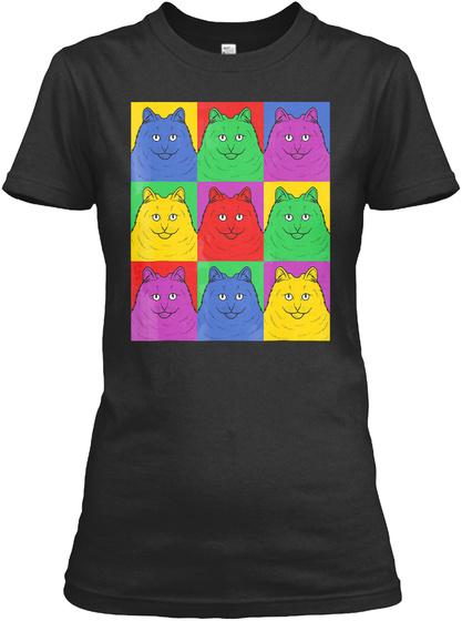 Maine Coon Pop Art T Shirt   Vintage Cat Black T-Shirt Front