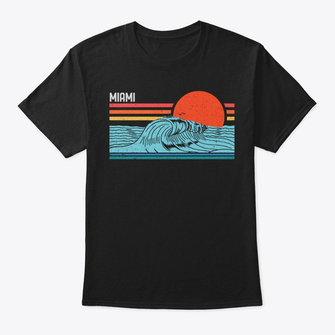 Vintage Miami Beach Surf Retro Souvenir Black T-Shirt Front