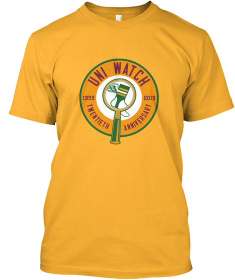 Uni Watch 1999 2019 Twentieth Anniversary Gold T-Shirt Front