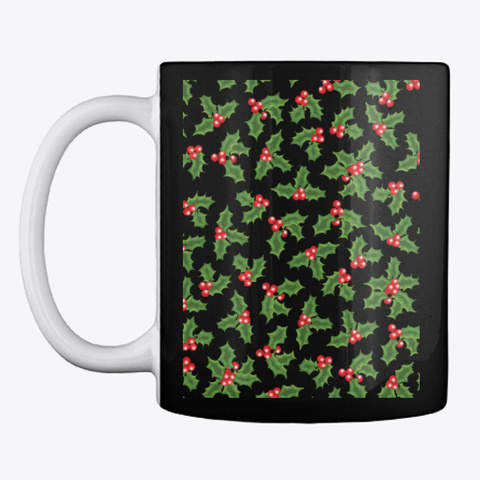 Pretty Holly Berries Black T-Shirt Front