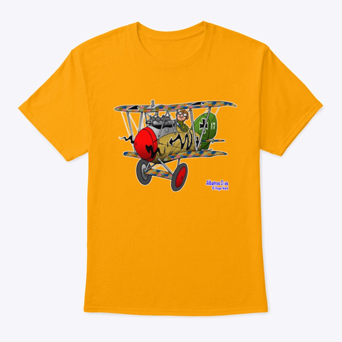 Albatros Dv.A Cartoon Gold T-Shirt Front