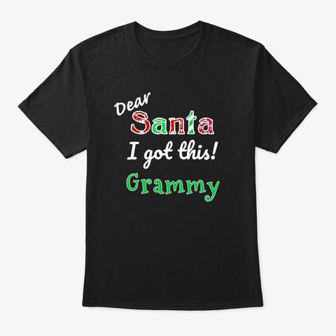 Holiday Santa Grammy  Black T-Shirt Front