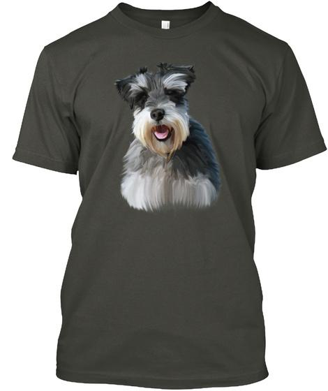 Miniature Schnauzer Dog Art Smoke Gray T-Shirt Front