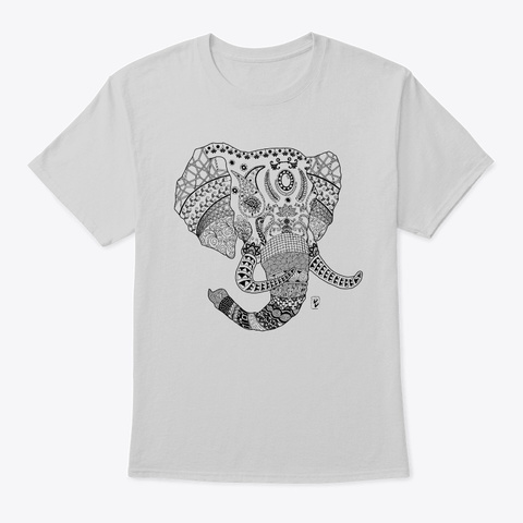 Elephant With Doodle Art   Light Light Steel T-Shirt Front