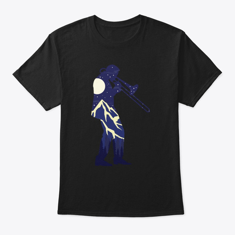 Trombone Player Silhouette Trombonist Black T-Shirt Front