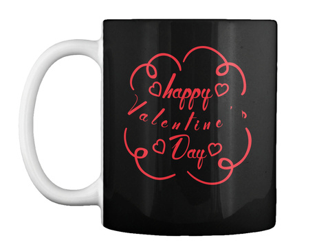 Happy Valentine's Day Black T-Shirt Front