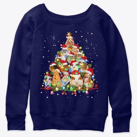 Guinea Pig Christmas Tree Ornament Shirt Navy  T-Shirt Front