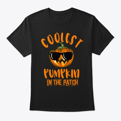 Coolest Pumpkin In The Patch Cute Hallow Black T-Shirt Front