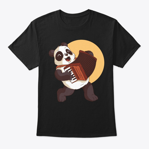 Panda Playing Accordion For Music Lover Black T-Shirt Front