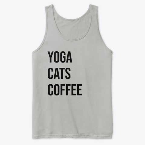 Yoga Cats Coffee Athletic Heather T-Shirt Front
