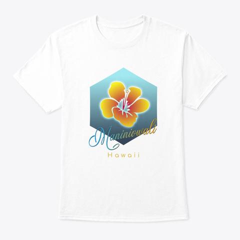 Maniniowali Hawaii Surfing Beach White T-Shirt Front