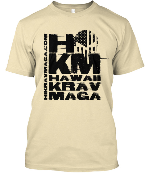 Hkm Hawaii Krav Maga Hikravmaga.Com. Cream T-Shirt Front