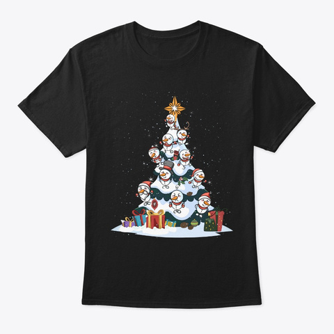 Snowman Christmas Tree Star Christmas Black T-Shirt Front