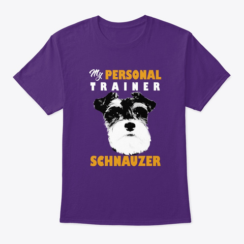 Personal Trainer Is Schnauzer T Shirt Purple T-Shirt Front