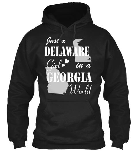Delaware Girl In Georgia Black T-Shirt Front