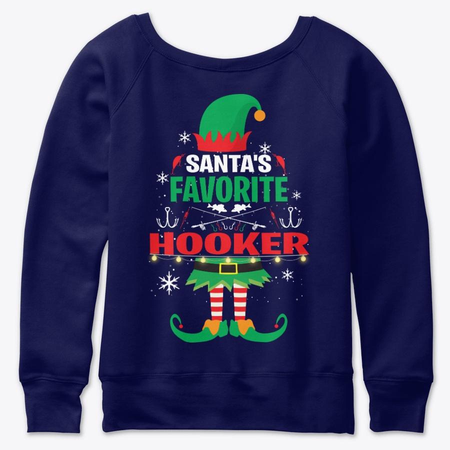 Santas Favorite Hooker Fishing T Shirt - Beauty Cheap Fishing V-neck Shirts Design
