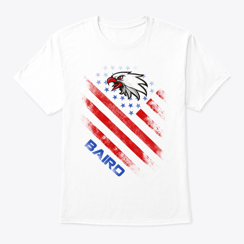 Baird Name Tee In U.S. Flag Style White T-Shirt Front