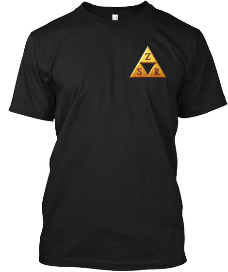 Gold Zsr Triforce Black T-Shirt Front