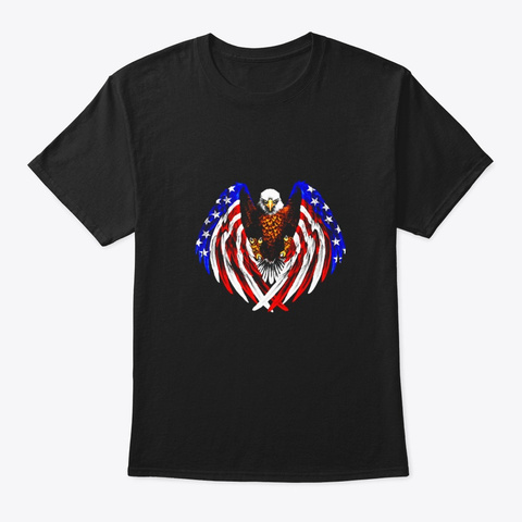American Eagle Patriot T Shirt Us Flag Black T-Shirt Front