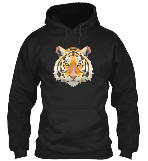 Tiger Hoodie Black T-Shirt Front