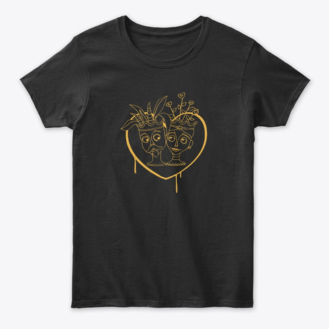 Halloween Siciliano   Moro Heads In Love Black T-Shirt Front