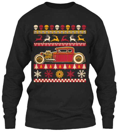 Rat Rod Ugly Christmas Sweater Style Black Long Sleeve T-Shirt Front