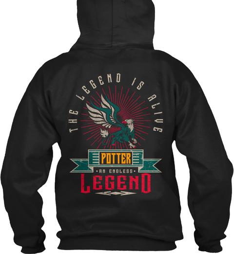 Potter   Alive And Endless Legend Black T-Shirt Back