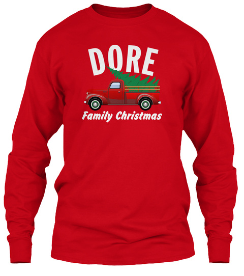 Dore Family Christmas Red T-Shirt Front
