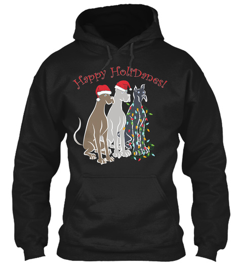 Great Danes Christmas Holidays Dogs Black T-Shirt Front