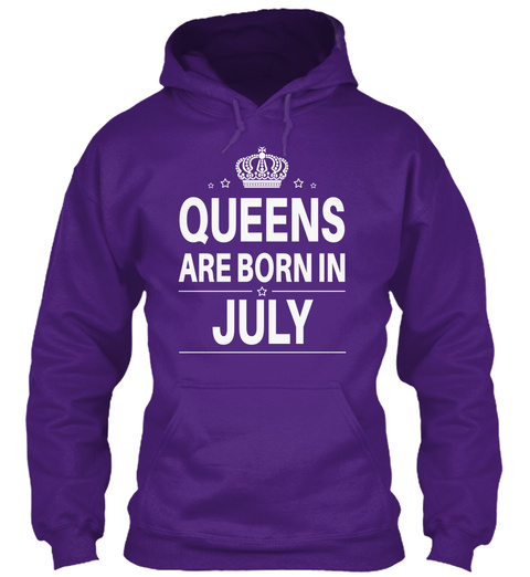 Queens Are Born In July Purple T-Shirt Front