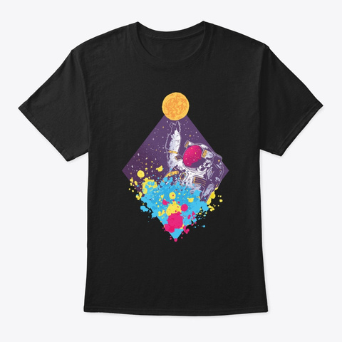 Astronaut Spaceman Moon Landing Planets Black T-Shirt Front