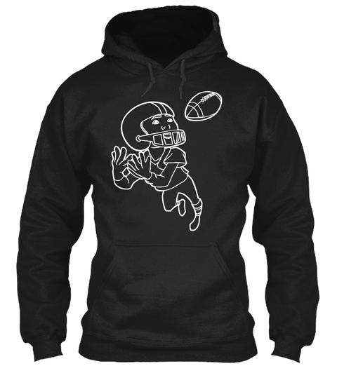 Hoodie Football Cartoon Black T-Shirt Front