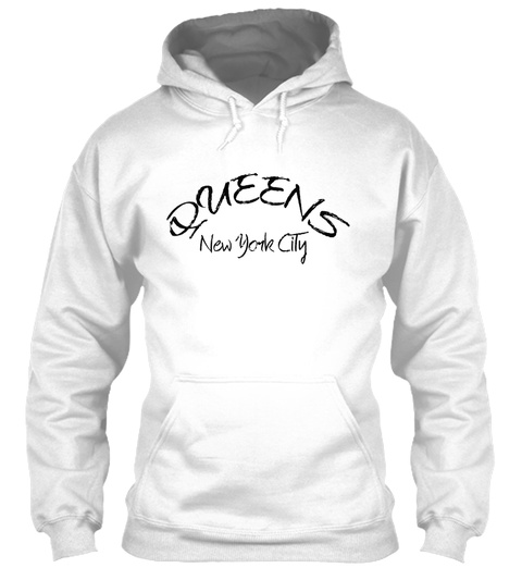Queens New York City White T-Shirt Front